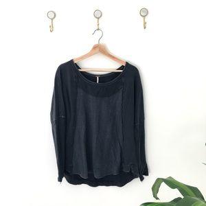 FREE PEOPLE black grey distressed sweatshirt top S